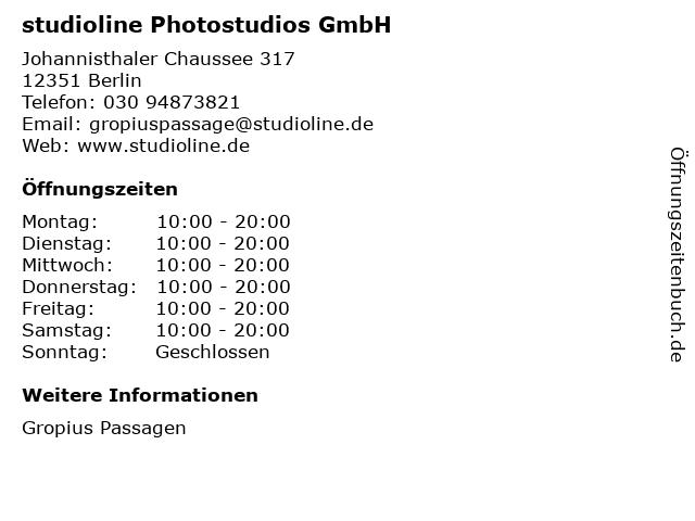 studioline Photostudios GmbH in Berlin: Adresse und Öffnungszeiten
