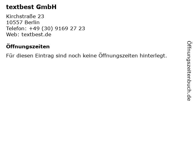 textbest GmbH in Berlin: Adresse und Öffnungszeiten