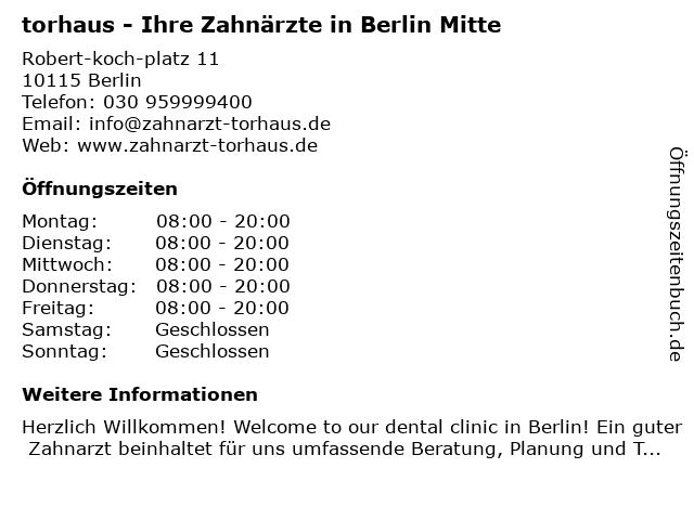 torhaus - Ihre Zahnärzte in Berlin: Adresse und Öffnungszeiten
