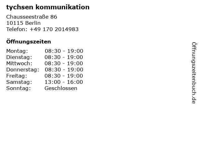 tychsen kommunikation in Berlin: Adresse und Öffnungszeiten