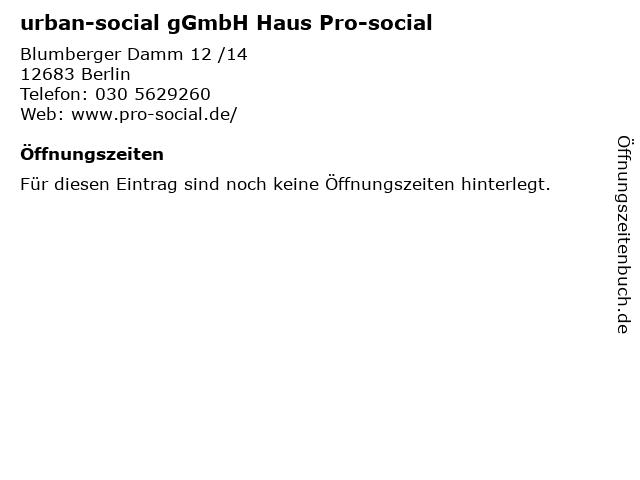urban-social gGmbH Haus Pro-social in Berlin: Adresse und Öffnungszeiten