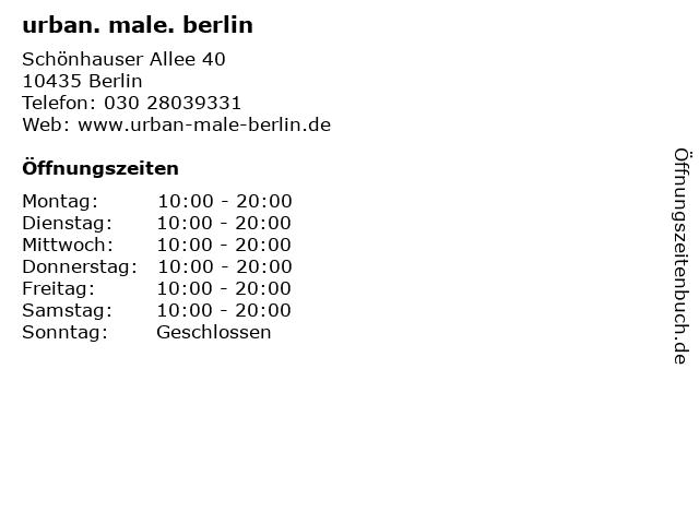 urban. male. berlin in Berlin: Adresse und Öffnungszeiten