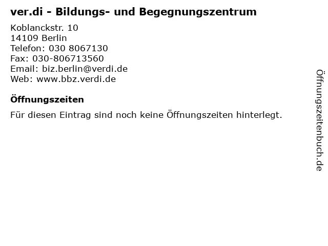 ver.di - Bildungs- und Begegnungszentrum in Berlin: Adresse und Öffnungszeiten
