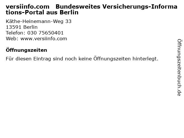 versiinfo.com   Bundesweites Versicherungs-Informations-Portal aus Berlin in Berlin: Adresse und Öffnungszeiten