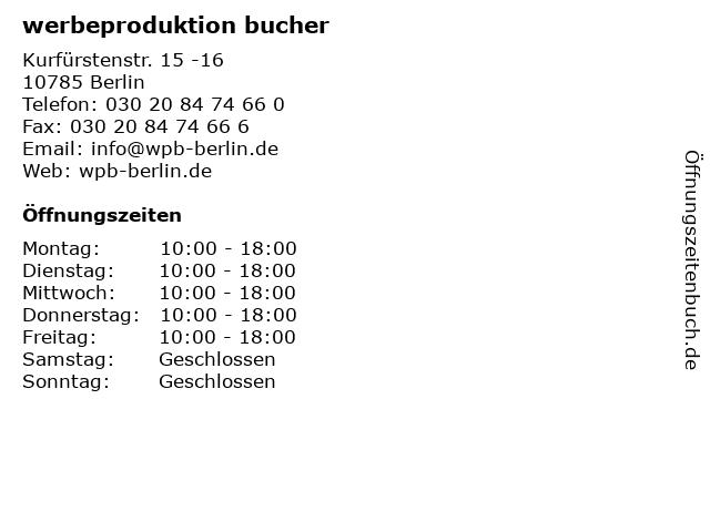 werbeproduktion bucher in Berlin: Adresse und Öffnungszeiten