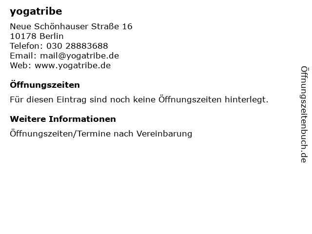 yogatribe in Berlin: Adresse und Öffnungszeiten