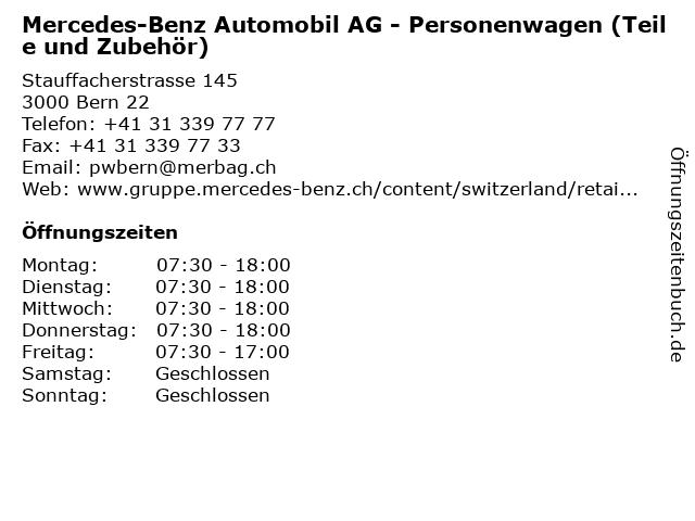 Mercedes-Benz Automobil AG - Personenwagen (Teile und Zubehör) in Bern 22: Adresse und Öffnungszeiten