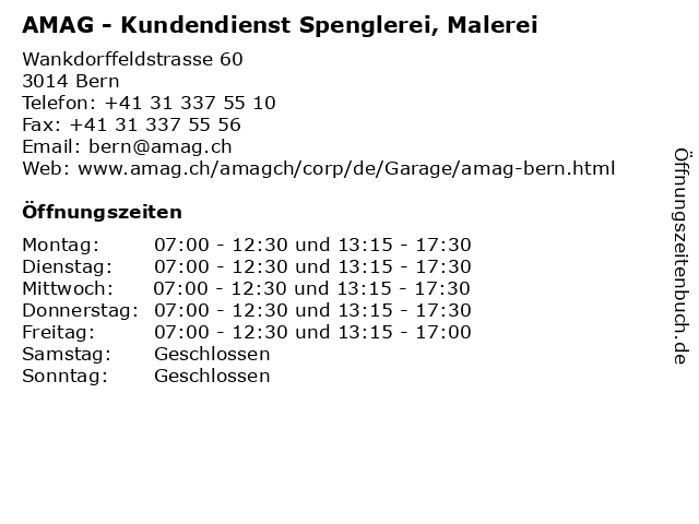 AMAG - Kundendienst Spenglerei, Malerei in Bern: Adresse und Öffnungszeiten