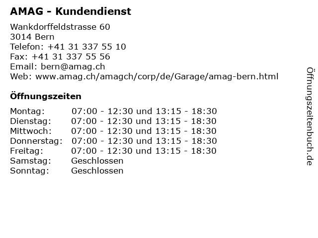 AMAG - Kundendienst in Bern: Adresse und Öffnungszeiten