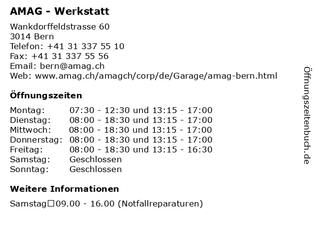 AMAG - Werkstatt in Bern: Adresse und Öffnungszeiten