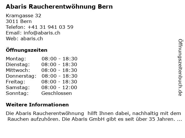 Abaris Raucherentwöhnung in Bern: Adresse und Öffnungszeiten