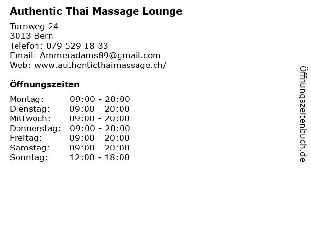 Authentic Thai Massage Lounge in Bern: Adresse und Öffnungszeiten