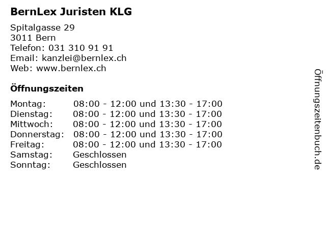 BernLex Juristen KLG in Bern: Adresse und Öffnungszeiten