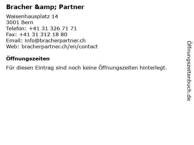 Bracher & Partner in Bern: Adresse und Öffnungszeiten