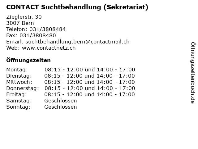 CONTACT Suchtbehandlung (Sekretariat) in Bern: Adresse und Öffnungszeiten