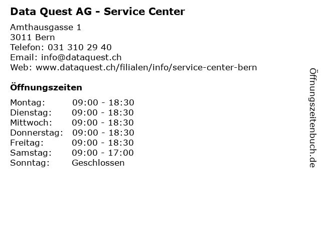 Data Quest AG - Service Center in Bern: Adresse und Öffnungszeiten