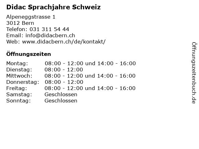 Didac Sprachjahre Schweiz in Bern: Adresse und Öffnungszeiten