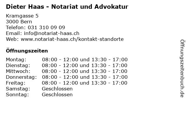 Dieter Haas - Notariat und Advokatur in Bern: Adresse und Öffnungszeiten