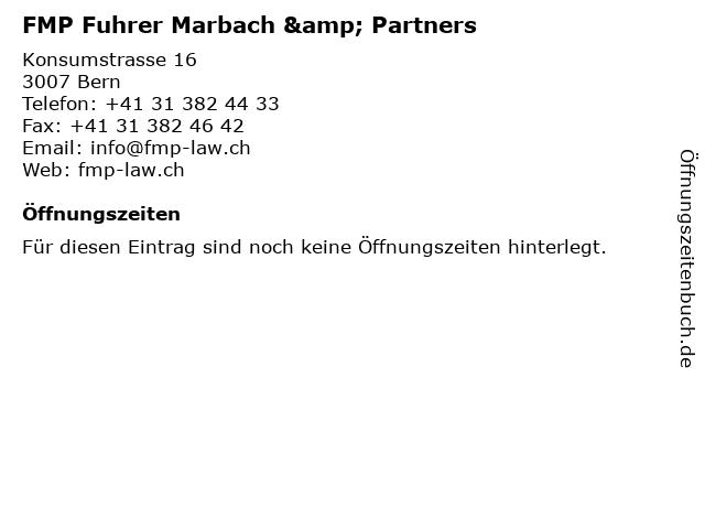 FMP Fuhrer Marbach & Partners in Bern: Adresse und Öffnungszeiten