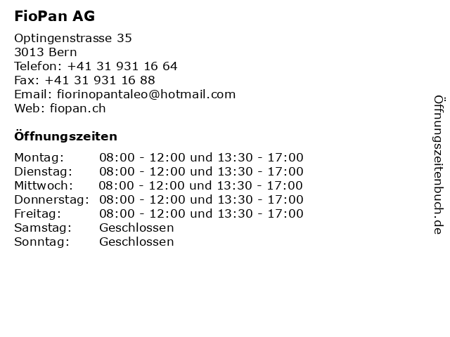 FioPan AG in Bern: Adresse und Öffnungszeiten