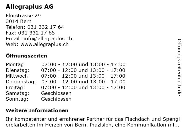 Flachdach Allegraplus AG in Bern: Adresse und Öffnungszeiten