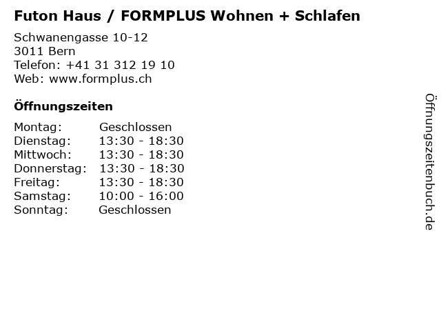 Futon Haus / FORMPLUS Wohnen + Schlafen in Bern: Adresse und Öffnungszeiten