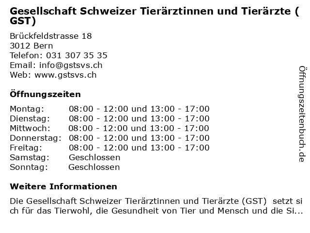 Gesellschaft Schweizer Tierärztinnen und Tierärzte - Geschäftsstelle in Bern: Adresse und Öffnungszeiten