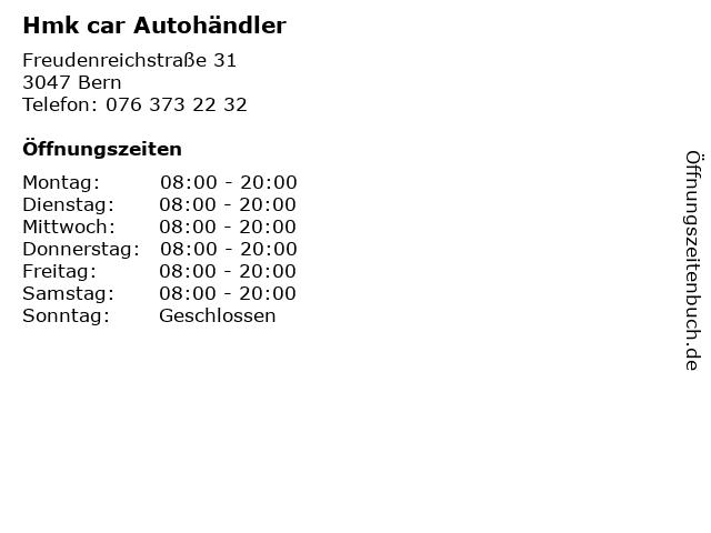Hmk car Autohändler in Bern: Adresse und Öffnungszeiten