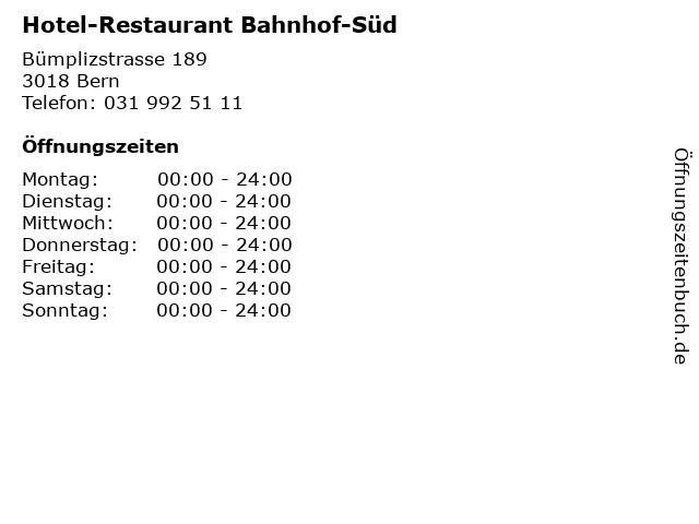 Hotel-Restaurant Bahnhof-Süd in Bern: Adresse und Öffnungszeiten