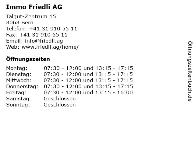 Immo Friedli AG in Bern: Adresse und Öffnungszeiten