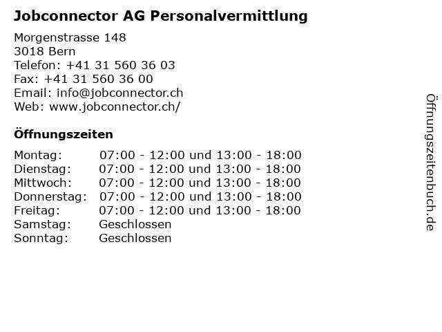 Jobconnector AG Personalvermittlung in Bern: Adresse und Öffnungszeiten