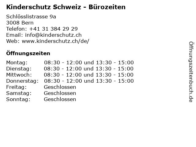 Kinderschutz Schweiz - Bürozeiten in Bern: Adresse und Öffnungszeiten