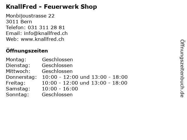 KnallFred - Feuerwerk Shop in Bern: Adresse und Öffnungszeiten
