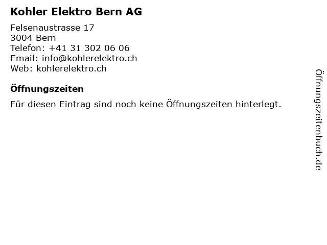 Kohler Elektro Bern AG in Bern: Adresse und Öffnungszeiten