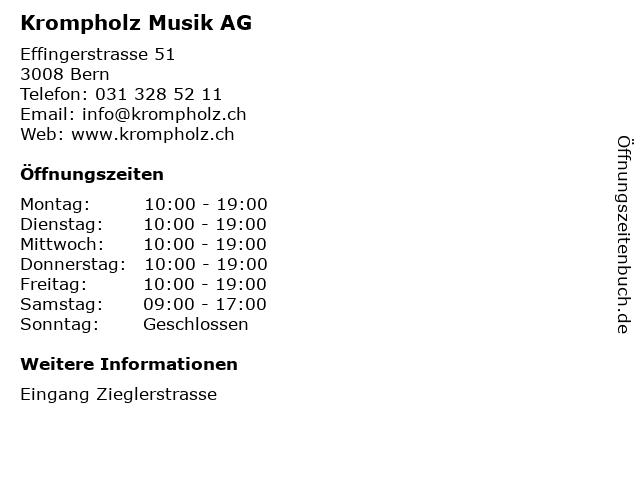 Krompholz Musik AG in Bern: Adresse und Öffnungszeiten