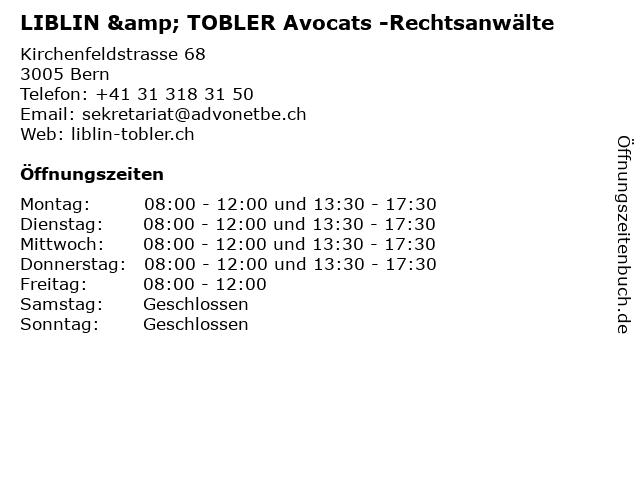 LIBLIN & TOBLER Avocats -Rechtsanwälte in Bern: Adresse und Öffnungszeiten