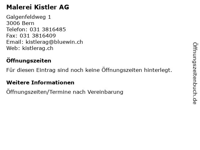 Malerei Kistler AG in Bern: Adresse und Öffnungszeiten