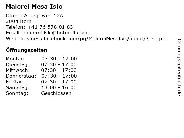 Malerei Mesa Isic in Bern: Adresse und Öffnungszeiten