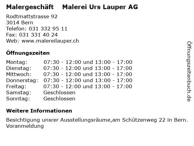 Malergeschäft    Malerei Urs Lauper AG in Bern: Adresse und Öffnungszeiten