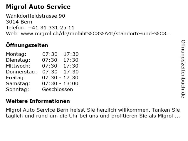 Migrol Auto Service in Bern: Adresse und Öffnungszeiten
