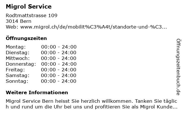 Migrol Service in Bern: Adresse und Öffnungszeiten