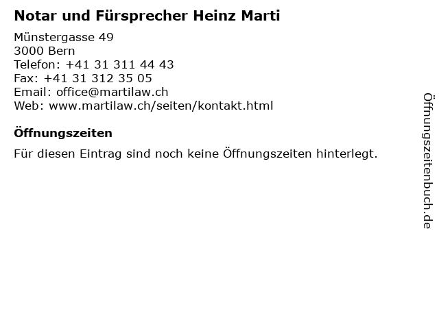 Notar und Fürsprecher Heinz Marti in Bern: Adresse und Öffnungszeiten