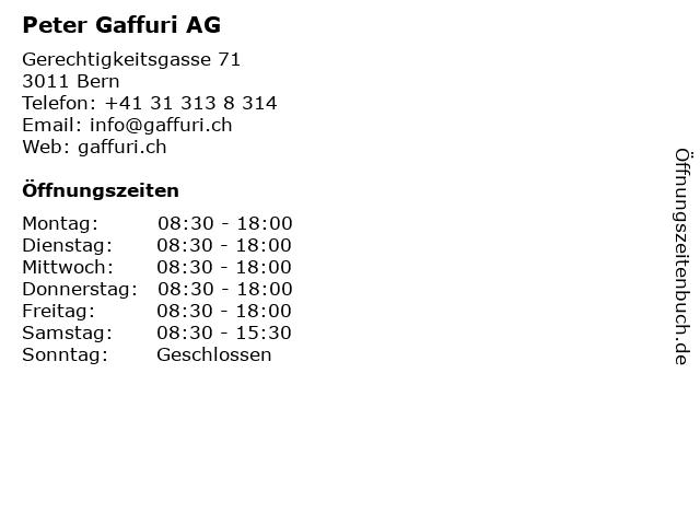 Peter Gaffuri AG in Bern: Adresse und Öffnungszeiten