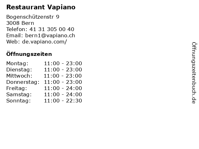 Restaurant Vapiano in Bern: Adresse und Öffnungszeiten