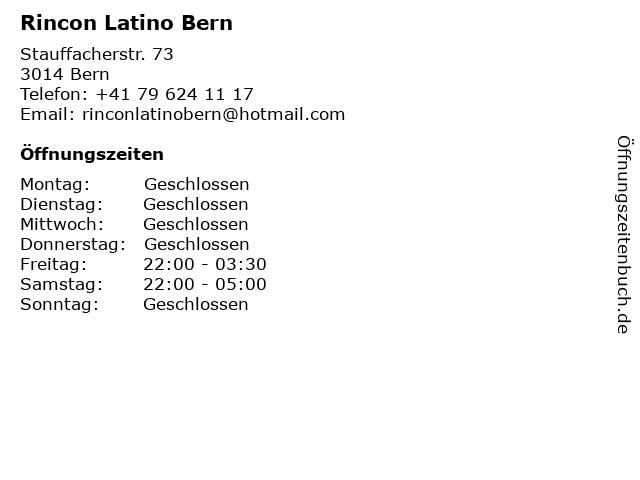 Rincon Latino Bern in Bern: Adresse und Öffnungszeiten