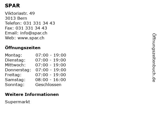 SPAR in Bern: Adresse und Öffnungszeiten