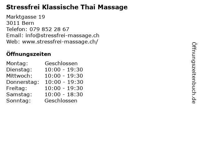 Stressfrei Klassische Thai Massage in Bern: Adresse und Öffnungszeiten