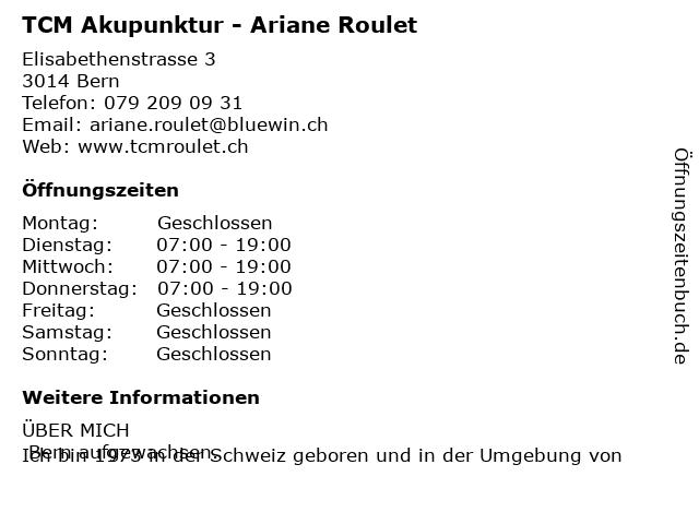 TCM Akupunktur - Ariane Roulet in Bern: Adresse und Öffnungszeiten