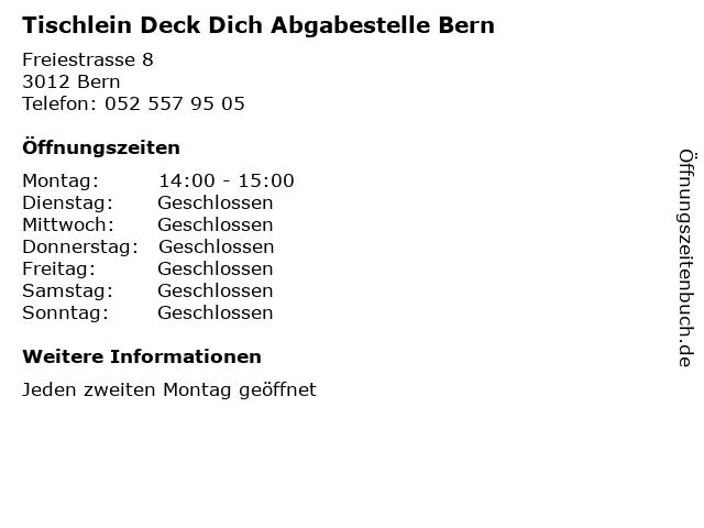 Tischlein Deck Dich Abgabestelle Bern in Bern: Adresse und Öffnungszeiten