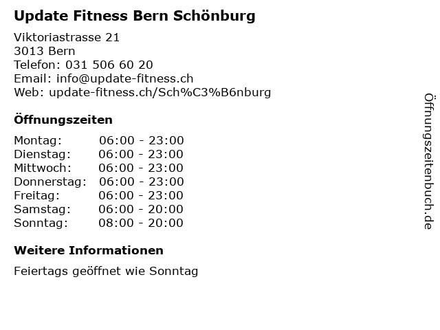 Update Fitness Bern Schönburg in Bern: Adresse und Öffnungszeiten
